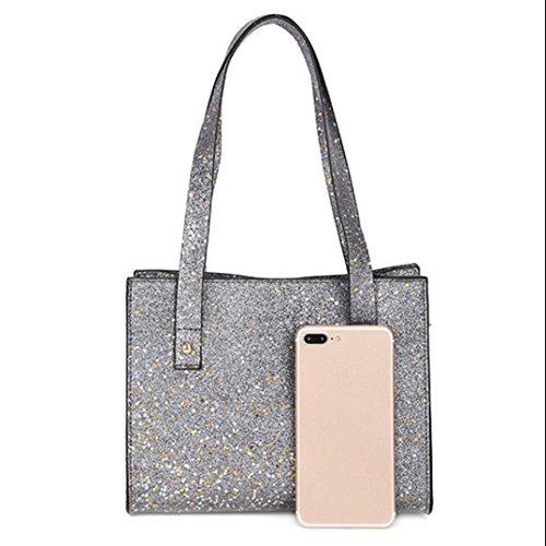 Malloom® Damen mode Pailletten Leder Schultertasche mit Corssbody Bag & Handtasche Fashion Lady Pailletten Leder Griff Schulter Messenger Bag (silber)
