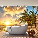 Fototapete 400x280 cm - ALLE TOPSELLER auf einen Blick ! Vlies PREMIUM PLUS - DREAM BEACH - Strand Meer Sonnenaufgang Beach Wasser Blau Himmel Sonne Sommer - no. 042