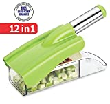 #2: Ritu  Stainless Steel 12 in 1 Chipser Slicer, Green and White