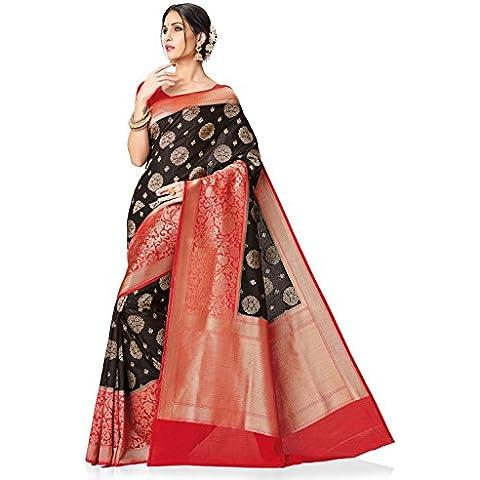 Meghdoot Women's Woven Kanchipuram Spun Silk Saree Black and Red Color Sari