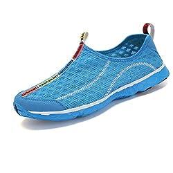 SAGUARO Unisex Damen Herren Aquaschuhe Strandschuhe Breathable Ineinander Greifen Wasserdicht Schlüpfen Schnell Trocknend Schwimmschuhe Surfschuhe, Blau 38
