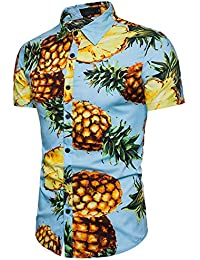 Pinkpum Men's Hawaiian Shirts Short Sleeve Summer Casual Fancy Hawaii Dress Pineapple Pattern S-XXL