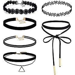 JewelryWe Joyería Gargantilla Negra Terciopelo, Collares para Mujer Jóven, Encaje Choker Gótica Retro Vintage, Tatuaje Collar Negro Juego de 6 Piezas