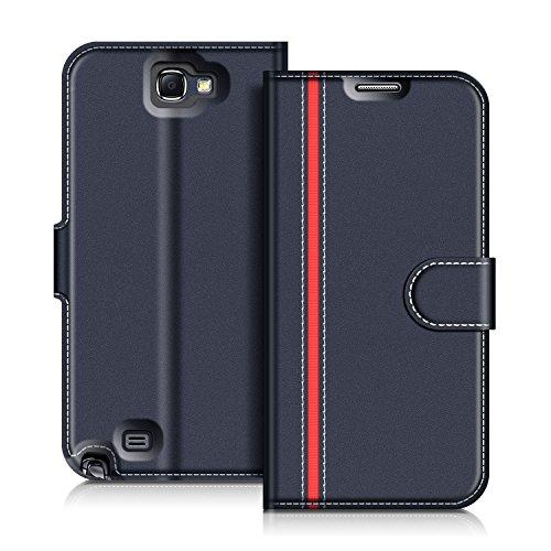 COODIO Handyhülle für Samsung Galaxy Note 2 Handy Hülle, Samsung Galaxy Note 2 Hülle Leder Handytasche für Samsung Galaxy Note 2 Klapphülle Tasche, Dunkel Blau/Rot