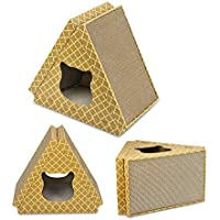 Odfbgfj Cool and Breathable Cat House Wear Cat Scratch Board Triangle Pet Nest (Color : Primary Color)