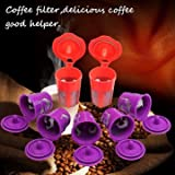 Generic 2Pcs Orange Coffee Filter + 5 Pack Violet Coffee Filters K-Cup K-Carafe Reusable