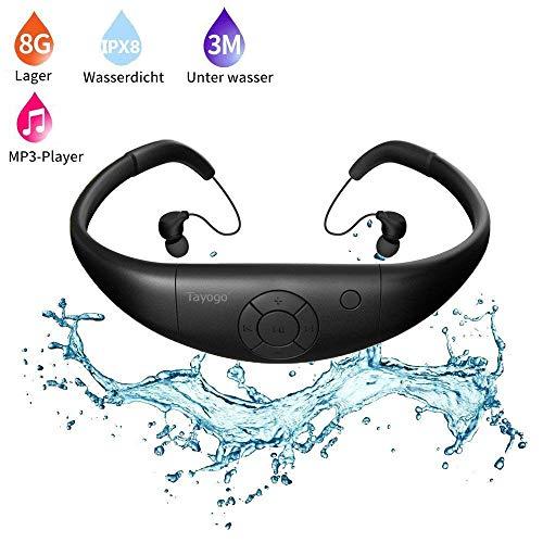 Wasserdichter Mp3, 8 Gb HiFi Mp3 Player Zum Schwimmen Und Laufen, Shuffle Funktion-Schwarz