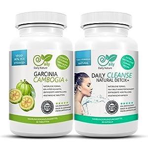 Garcinia Cambogia 80% HCA & Detox cleanse plus – Original bundle von DailyNature. Vegetarisches Set. Superstrange+ Garcinia Tabletten und 13in1 colon cleanse Duo. Stärkere optimierte Garcinia Tabletten für schnellere Ergebnisse. UVP: 49,95€