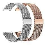 TRUMiRR pour Fossil Gen 4 Q Venture HR/Gen 3 Q Venture Bracelet de Montre, 18mm Boucle & Bracelet de Montre en Acier Inoxydable pour LG Watch Style, Daniel Wellington 36mm (Paquet de 2)
