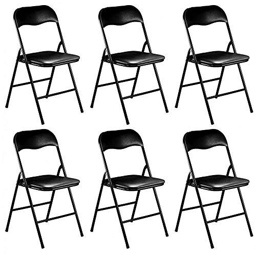 Milanihome set di 6 sedie pieghevoli slim nere opache struttura nera per interno sala da pranzo salotto cucina ufficio