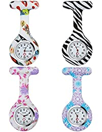 Anpro 4pcs Silicone Nurse Watch Doctor Medical Staff Brooch Fob Watch