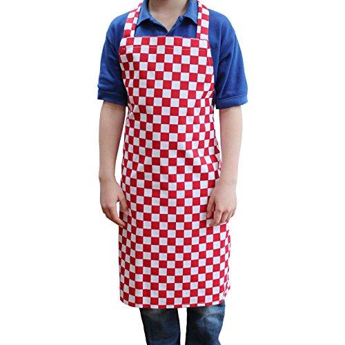 Enfants de tabliers de cuisine carreaux, rouge, 8-10 ans - 64 x 84 cm