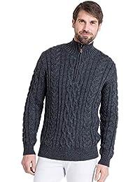 WoolOvers Pull irlandais en maille torsadée à col zippé - Homme - Pure Laine