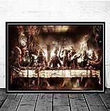 REDWPQ Jason Chucky Halloween Personnage De Film d'horreur La Dernière Cène Art Peinture Affiche Imprime Mur Image Salle Home Decor 42x60 CM sans Cadre
