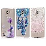 3 x Huawei Honor 6X Hülle TPU Soft Tasche Weiche CASE KASOS Handyhülle Schutzhülle Schale Cover Silicone Taschen IMD Technologie, Rosa Gradient Totem + Lila Löwenzahn + Blau Traumfänger
