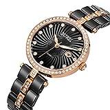 BUREI fecha calendario de diamantes señoras relojes de cerámica con cristal y cristal de oro rosa reloj caso diseñado para Fashion vestido de lujo