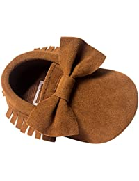 HAPPY CHERRY Nuevo Suaves Zapatos Primeros Pasos Zapatitos sin Cordones PU Borlas Lazo Mocasines para Bebés Niños Niñas 0 - 18 Meses Muchos Colores a Elegir