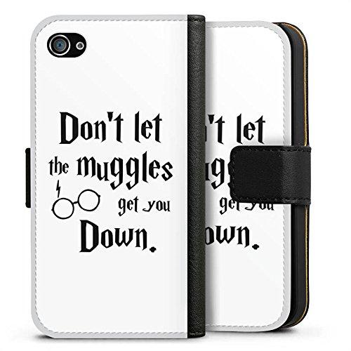 Apple iPhone X Silikon Hülle Case Schutzhülle Muggles Statement Harry Potter Sideflip Tasche schwarz