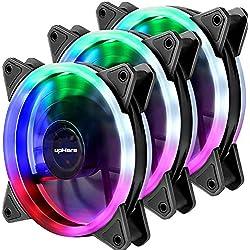upHere Couleur LED Dissipateur Ventilateur pour Boîtier D'Ordinateur 120mm Silencieux Pack Triple (F03)