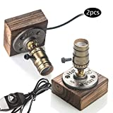 OYGROUP 2 Pack Holz Nachtlicht Tischlampe Vintage Schreibtisch Lampe E26 Edison Birne Holz Retro Industrial Dimmable Nightlight für Schlafzimmer Wohnzimmer Home Art Display Cafe Bar Studio Antique Décor