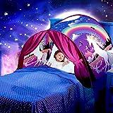 YSYDE Bettzelt Unicorn Fantasy Girls Bettzelt Pop Up Spielzelt Magical Playhouse Princess Play Castle Geschenk für Kinder Das Bettzelt erscheint in Sekunden für Spiel und Falten