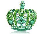 Alilang synthétique Vert émeraude Cristal Strass Perle Queen King Crown CustomBrosche