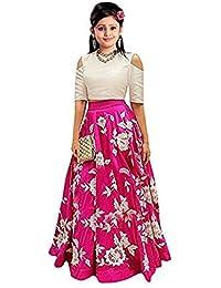 E Ethnic Store Girl's Banglory Silk Semi-Stitched Party Wear Lehenga Choli (Pink, 8-12 Years)