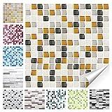 Wandora 1 Set Fliesenaufkleber 25,3 x 25,3 cm Kupfer dunkelgrau Silber Mosaik Design 23 I 3D Mosaik Fliesenfolie Küche Bad Aufkleber W1536
