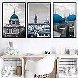 YuanMinglu Blue Castle Nordic Poster und Stoffkunst Wandkunst Dekoration Moderne Wohnzimmer Wandbild Kunst Rahmenlos 40x50cm