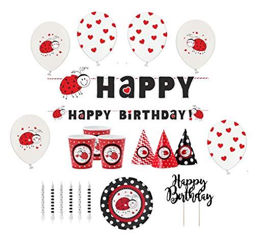 Feste Feiern Geburtstagsdeko Ladybug Mottoparty I 32 Teile Marienkäfer Party-Set Luftballon Girlande Schwarz Rot Weiß Mädchen Happy Birthday (Marienkäfer Kindergeburtstag Dekoration)