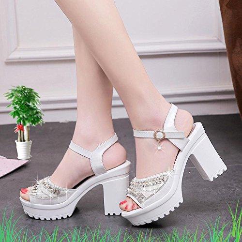 LvYuan Sandali di estate delle donne / bocca dei pesci / moda / partito e vestito da sera / tacco a zeppa / fibbia strass / scarpe Bianca