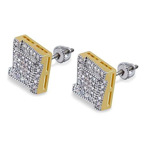 LINLIN Einzelne Quadrat-Bolzen-Ohrring-Ring-Leiter voll von Zirkon Two-Tone Ohrringe Männer und Frauenohr-Dekoration 0,59 × 0,39 Zoll (Tone Two Ohrringe)