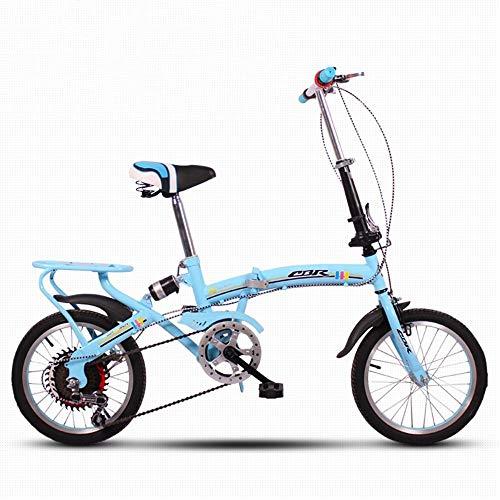 NZ-Children's bicycles Vélos pour Enfants Vélo Pliant Vélo Ultralight Mini à Absorption de Chocs à Vitesse Variable, 16 Pouces, Adulte (Couleur: Bleu)