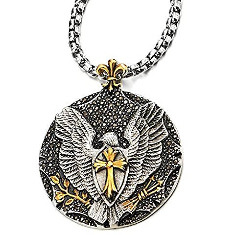 Mens Eagle Cross Pendant Necklace with Black Cubic Zirconia Steel Silver Gold with 30 in Wheat