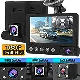 Dkings 4 '' 1080p HD 3 lentilles voiture DVR Dash Cam caméra de vision nocturne +...