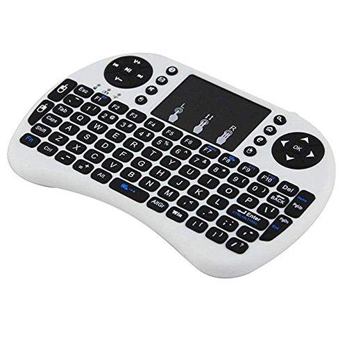 A-Nice Mini Tastatur Wireless mit Touchpad, Smart TV Tastatur Fernbedienung, 2,4 GHz Wireless Backlit Mini Tastatur Beleuchtet für Android-TV-Boxen PC-Notebooks Projektoren (Farbe : Weiß)