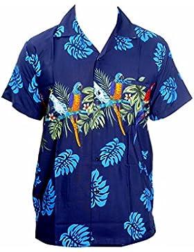 Saitark - Camicia hawaiana da uomo, motivo estivo con pappagalli al centro