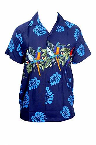 SAITARK Camisa Hawaiana para Hombre, diseño de Loros en el Centro, para la Playa, Fiestas, Verano y Vacaciones - XS - Azul