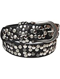 styleBREAKER Nieten Gürtel im Vintage Style mit echtem Leder, kürzbar 03010008