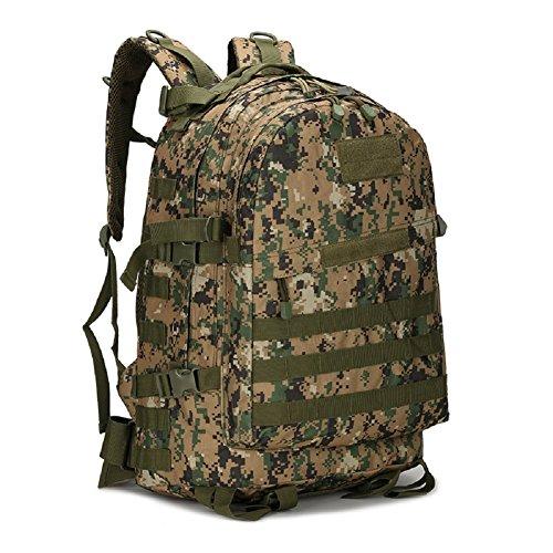LF&F Militär-Fan Tarnung Bergsteigen Tasche taktischen Rucksack Outdoor-Camping-Tasche militärischen Rucksack Wanderrucksack wasserdichte große Kapazität Casual Laptop Rucksack D