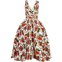 Mujer Retro Vintage Rockabilly Pin- Up Vestido Con Vuelo Fiesta Vestido De Flores