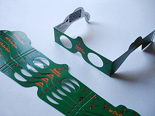 5 Stück HoloSpex 3D Brille Reindeer, Rentier, Weihnachten (Happy Eyes, Holiday Specs) / Weihnachtsbrille, Effektbrille, Partybrille, Spaßbrille