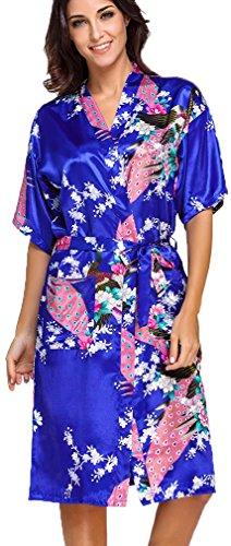 FLYCHEN Damen Satin Kimonos Bademantel lange Nachtwäsche Robe mit Peacock Morgenmantel Saphirblau L