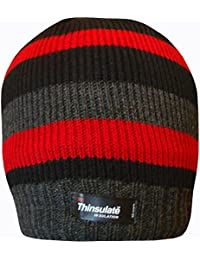 TeddyT's Mens Striped Thermal Knit Fleece Lined Thinsulate Winter Beanie Hat