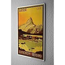 Cartello Targa In Metallo Tin Viaggio Mondo Svizzera spavento mucche Hornberg Piastra Decorativa 20X30 cm