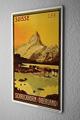 Blechschild Welt Reise Schweiz Schreckhorn Berg Kühe Wand Deko Schild 20X30 cm