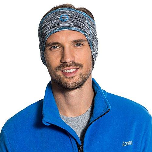 Gregster Damen und Herren Stirnband Unisex Sportstirnband zum Laufen atmungsaktiv Funktionsstirnband, grey melange/blue, Einheitsgrösse