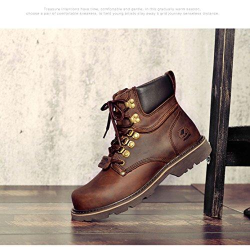 Z.SUO Cuir d'origine Classique Boots,Bottes Homme Marron
