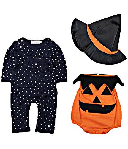 (Strampler + Hosen + Hut)Baby Jungen Mädchen Kürbis Strampler Neugeborenen Bodysuit Halloween kostüm (Halloween Einfach Mann Kostüme)
