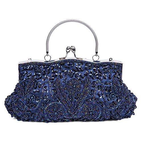 afa5b97b95646 Baglamor Fashion Perlen Handtasche Winter Handtasche Kissing Lock Tasche  Satin Abend Kupplung Blau